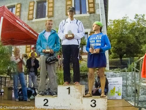 EcoTrail du Massif des Brasses 2014 - Podium barefooteur, 15km : 1) David H  2) Maxime M et 3) Christian Harberts
