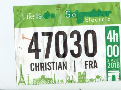 Christian Harberts, Marathon de Paris  2016 pieds nus